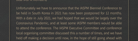 Important Notice from IASPM 2021-Conference postponed